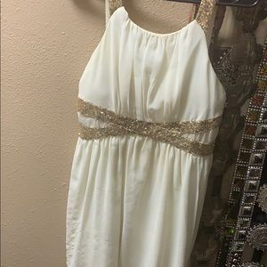 Filly flair dress ivory with gold sparkly straps